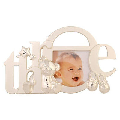 Silver Baby Girl Boy ~ My 3rd Third Birthday ~ Teddy Bootie Photo Picture Frame