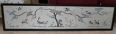 Very Large Antique Framed & Glazed Oriental Embroidered Silk of Storks & Flowers