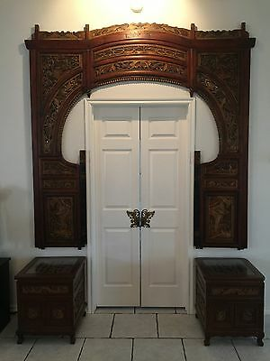 Exquisite Antique Chinese Hand Carved Wood Wedding Opium Canopy Bed Front Frame