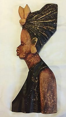 Vintage African Woman Hand Crafted Carved Wood Art Princess Queen Africa Old 17""