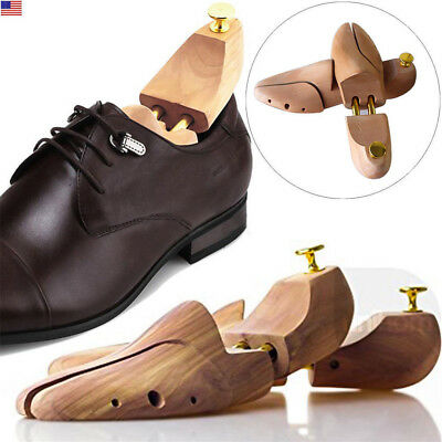 Mens Cedar Wood Shoe Tree Shaper Adjustable Width Stretcher US Large Size 8-12