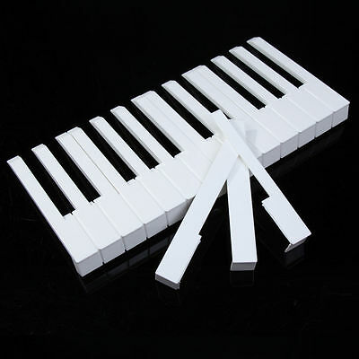7PC White Piano Keytops One Octave Fronts for Keytop Replacement White Keys