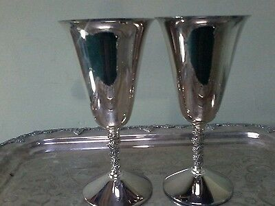 "Pair of Vintage Primrose Plate Birks Wine Goblets Cups 5.5"" tall"