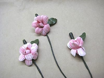 MILLINERY HAT FLOWER TRIM 6 PINK HAND PAINTED FLOWERS VINTAGE 1940's-50'S