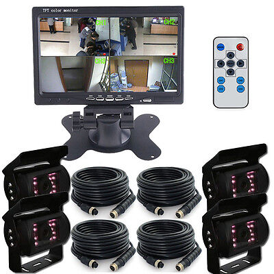 "7"" QUAD SPLIT SCREEN MONITOR 4x BACKUP REAR VIEW CCD CAMERA SYSTEM FOR TRUCK RV"