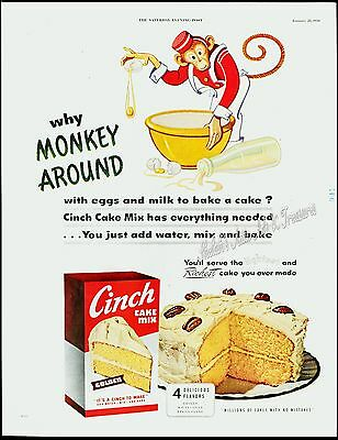 1950 CINCH CAKE MIX Baking Monkey on Yellow Ware Bowl & Milk Bottle Vtg PRINT AD