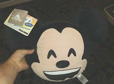 Disney Parks Mickey Mouse 2 Side Emoji Decorative Accent Toss Plush Pillow NEW