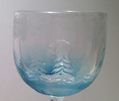 Antique Crystal Blue Cut To Clear Animal Wine Stem Glass Moser William Yeoward