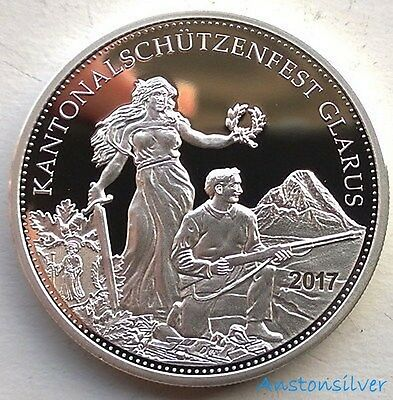 2017 Swiss Shooting Thaler Proof - Glarus Festival - 50 Francs Coin