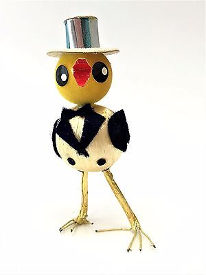 Vintage Tall Easter Chick in a Tuxedo & Top Hat ~ Satin Wrapped Body & Wire Legs