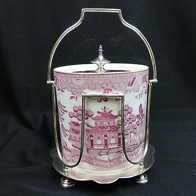 Antique 19th Century Copeland Silverplate Mounted Chinoiserie Biscuit Barrel