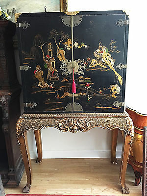 Antique Rare Georgian Oriental Chinoiserie Inlaid Cabinet Chest On stand
