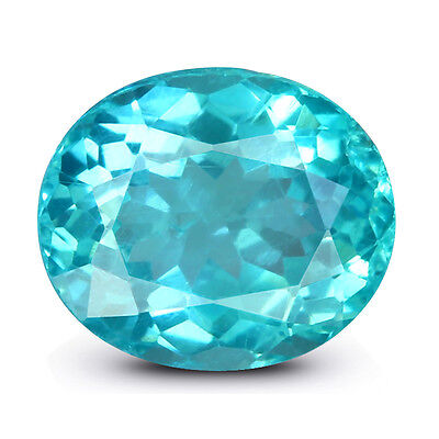 Neon Blue Apatite 1.4Ct Fine Oval Cut Natural IGI Certified Unheated Gemstone