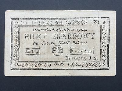 Poland 4 Zloty PA11 Treasury Note Bilet Skarbowy Dated 4th September 1794 aUNC