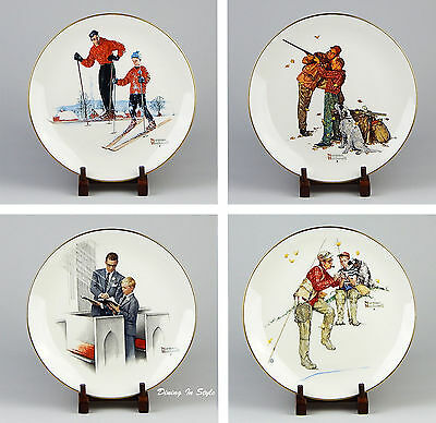 "Complete Set of 4 Plates (10-3/4"") Gorham, Norman Rockwell The Four Seasons 1980"
