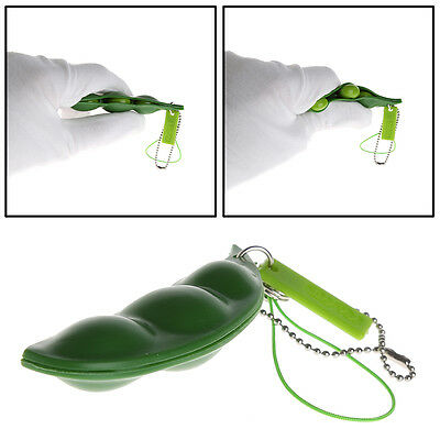 Stress Relieving Extrusion Squeezed Bean Soybean Keychain Keyring Pop Up Pea Toy