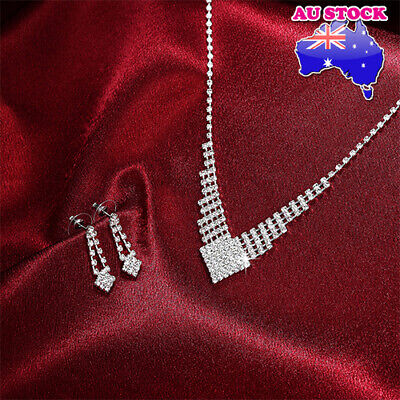 Elegant silver plated Crystal Necklace and Earrings Bridal Wedding Jewellery Set