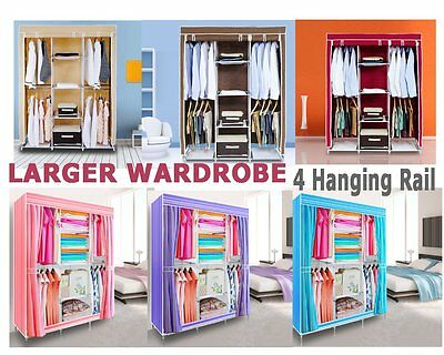 Large Portable Canvas Wardrobe With Hanging Rail Home Furniture Storage