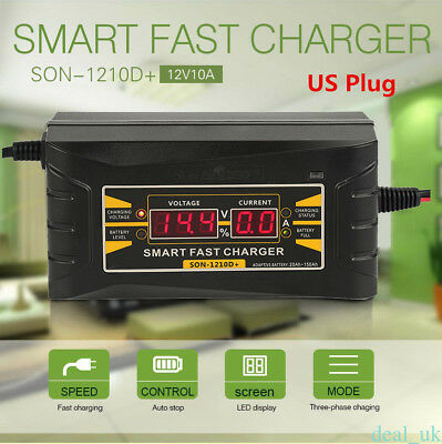 12V/10A Car Motorcycle Smart Fast Leadacid Battery Charger LCD Screen Display US