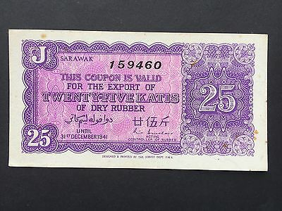 Sarawak 25 Katis of Dry Rubber 159460 Dated 31st December 1941 aUNC to UNC