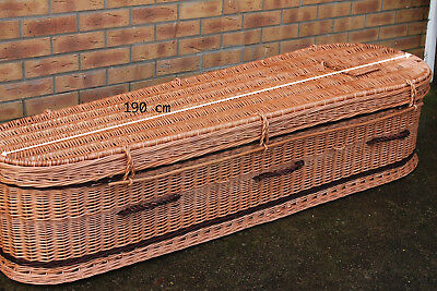 180 cm HANDMADE high-quality original NATURAL WICKER coffin for cremation