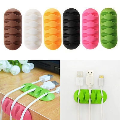5-Clip Earphone Cable TPR Winder Organizer Charger Cable Holder Fixing Device KY