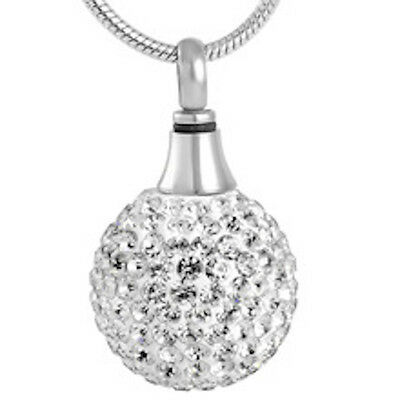 Cremation Jewellery - Silver and rhinestone shambala ball for keepsakes or ashes