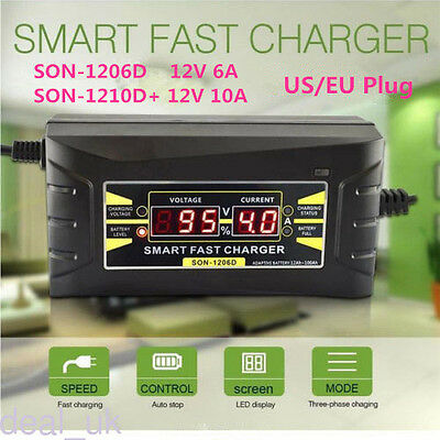 12V 6A/10A Smart Car Motorcycle Battery Charger Power Charger LCD Display US/EU
