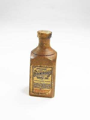 Antique Victorian unusual wood wooden Cointreau bottle advertising dice treen