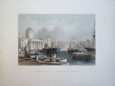 Liverpool Dock. Antique Hand Coloured Engraving 1841 By Higham After Bartlett