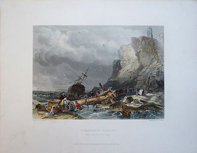TYNEMOUTH CASTLE. ANTIQUE HAND COLOURED ENGRAVING c1840 BY FINDEN AFTER BALMER