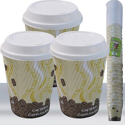 RIPPLE WALLED DISPOSABLE PAPER COFFEE CUPS 8oz 12oz 25-500 AVAILABLE!