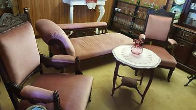Edwardian 3pc Suite !! Chaise & Throne chairs !! VGC