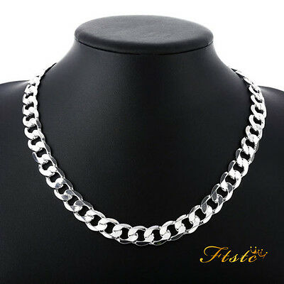 Fashion Men 925sterling Silver fashion 8MM solid men Rope Chain Necklace 20""