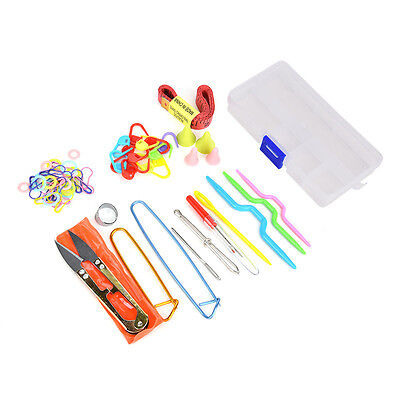 56PCS Knitting Tools Crochet Needle Hook Mark Buckle Supplies With Case Knit Set