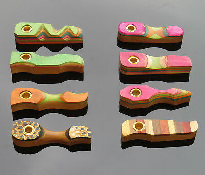 Small Wooden Pocket Smoking Pipes + 5 Free Pipe Gauzes Stylish Multi Coloured