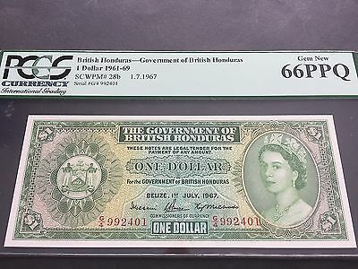 British Honduras One 1 Dollar P28b 1 July 1967 G/4 992401 PCGS Gem New 66PPQ UNC