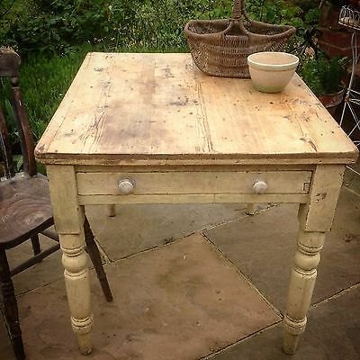 Farmhouse Vintage Scrub Top Antique Victorian Pine Kitchen Dining Table Rustic
