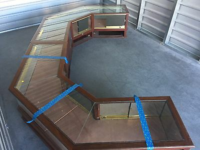 5 piece modular retail store display case system octagonal shaped mahogany glass