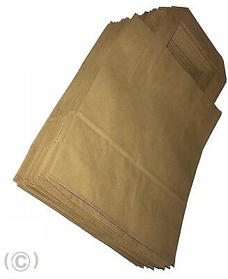 "100 SMALL BROWN KRAFT PAPER CARRIER SOS BAGS 7x3.5x8.5"" FLAT HANDLE"