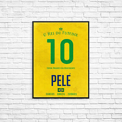 Pele the king of football Print A4 Picture Art Poster Retro Shirt Style Print
