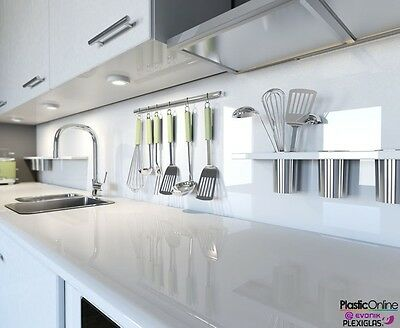 White Plastic Perspex Acrylic Kitchen Bathroom Splashback Like Glass