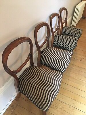 4 Balloon Back Victorian Dining Chairs Upholstered In Zimmer+Rohde Fabric