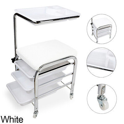 Pedicure Trolley Nail Tattoo Salon Foot Leg Rest Stool Station Chair Tray White