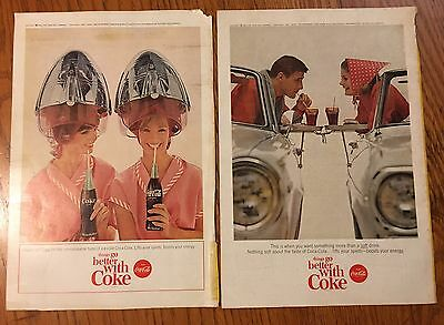 Vtg Lot 60's Coca-Cola COKE Print Ad Girls Beauty Salon & Couple Convertible Car
