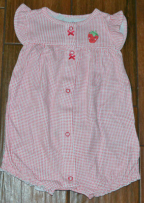 Carter's  Baby Girl Strawberry Romper With Ruffles MSRP $18.00  9M OR 12M CHOICE