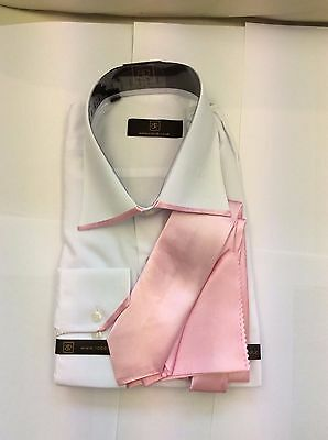 Brand New White With Pink Edge Collar  Shirt And Pink Tie By Robelli