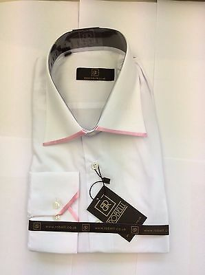 Brand New White With Pink Edge Collar  Shirt  By Robelli