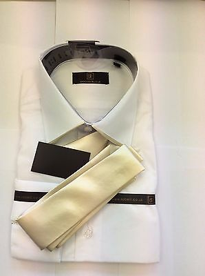 Brand New White With Gold Edge Collar  Shirt And Gold Satin Tie By Robelli