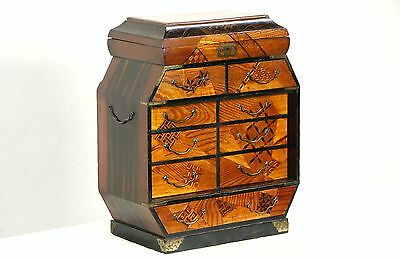 Japanese Antique 1900 Jewelry Chest, Marquetry & Hand Painted Lacquer